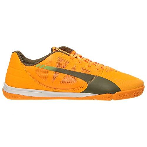 PUMA Men's Evospeed Sala Soccer Shoe, Fluorescent Flash Orange/Burnt Olive/Sharp Green, 9.5 M US