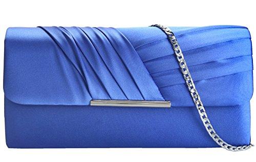 (Grace Angel Women's Pleated Satin Evening Handbag Cocktail Clutch GA12956)