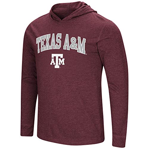 Colosseum Men's NCAA-Fall Semester-Long Sleeve Hoody Pullover T-Shirt-Texas A&M Aggies-Maroon-XXL