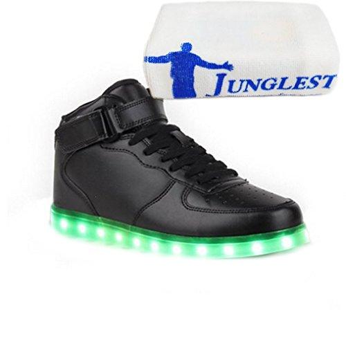 (Presente:pequeña toalla)JUNGLEST® 7 Colores USB Carga LED Luz Glow Luminosos Light Up Flashing Sneakers Zapatos Deportivos d Alto-Top Negro