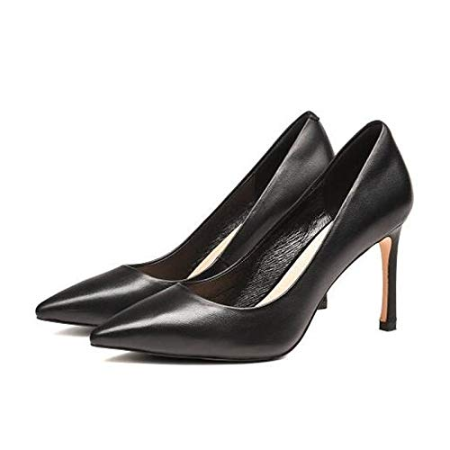 ZHZNVX Zapatos de Mujer Nappa Leather Winter Comfort Heels Stiletto Heel Blanco/Negro Black
