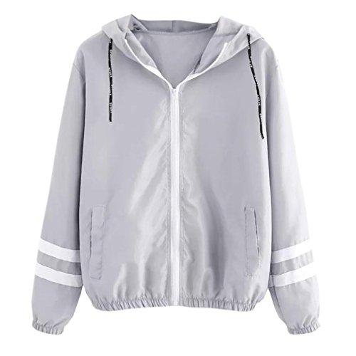 OSTELY Fashion Womens Hooded Long Sleeve Patchwork Thin Skinsuits Zipper Pockets Sport Coat (Gray,Medium)
