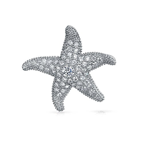 Bling Jewelry Sterling Silver Pave CZ Starfish Pendant