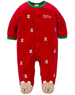 Baby Boys' Holiday Velour Footie