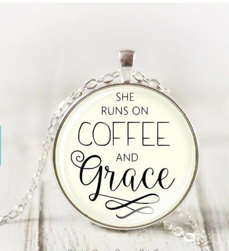 Large She Runs On Coffee And Grace Necklace, Christian Pendant Necklace Scripture Christian Necklace Inspirational Gift ()