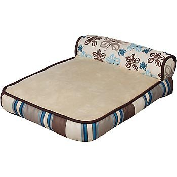 Planet Petco Floral and Stripe Chaise Cat Bed, 16″ L X 20″ W, My Pet Supplies