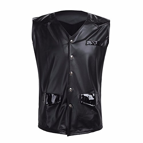 FEESHOW Men's PVC Leather Vest Tank Top Sleeveless Shirt Dance Club wear Faux Pockets Black X-Large