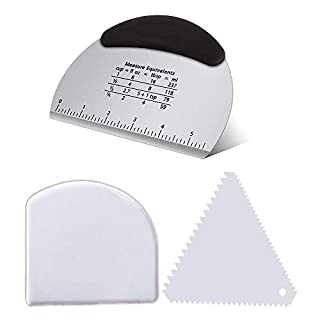 Tenta Kitchen Good Grips Multi-purpose Stainless Steel Scraper & Chopper Cutter With 2 pieces Decorating Comb & Icing Smoother Dough & Bowl Scrapers(Set of 3)