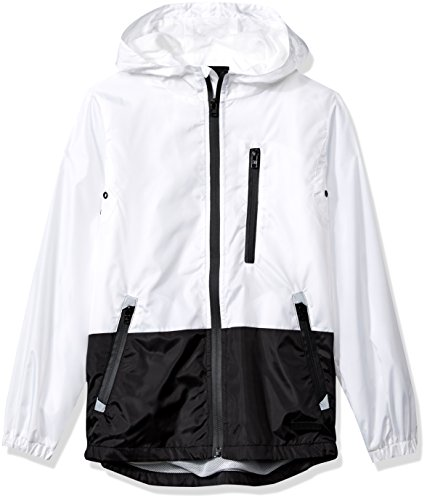 Southpole Boys' Big' Colorblock Water Resistance Windbreaker Hooded Jacket, White, Small