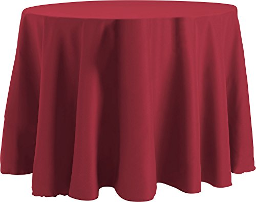- Bright Settings 108 Inch Round Tablecloth, Flame Retardant Basic Polyester, Ruby