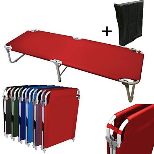 - Magshion Portable Military Fold Up Camping Bed Cot with  Storage Bag, Red