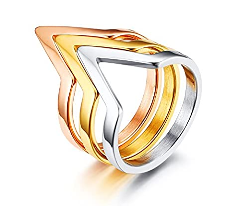 Vnox Tri-colors Stainless Steel Chevron Midi Knuckle Ring Size 8