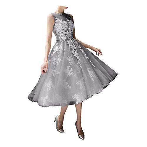 Spitze Promkleider Wadenlang A Braut Rock Abiballkleider Kurz Tuell La Grau Abendkleider mia Prinzess Ballkleider Linie SqUnB