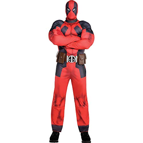 Costumes USA Deadpool Muscle Costume for Adults, Size Large, Size Medium, Includes a Jumpsuit, a Mask, Belt, and Gloves -