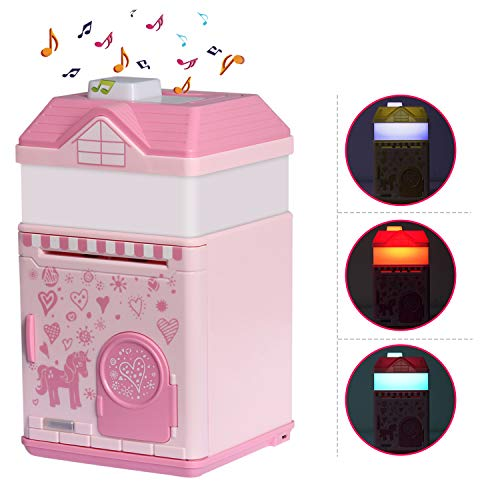 - OYE HOYE Piggy Bank for Girls, Electronic Money Coin Code Bank with LED Night Light & 10+ Music, Pink Safe Box with Personal Password Setting, Auto Money Scroll, Ideal Birthday, for Kids.