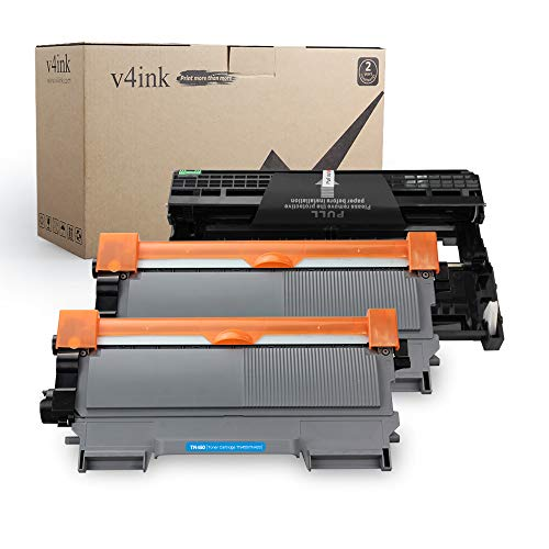 v4ink Compatible Toner Cartridge and Drum Unit Replacement for Brother TN450 TN420 DR420 High Yield use with HL-2240d HL-2270dw HL-2280dw MFC-7240 MFC-7360n MFC-7860dw Printer 4 Pack (1 Drum+2 Toner)