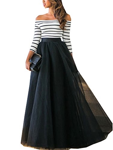 Women's Off Shoulder Striped Crop Top With Tull Maxi Skirt Two Piece Dress