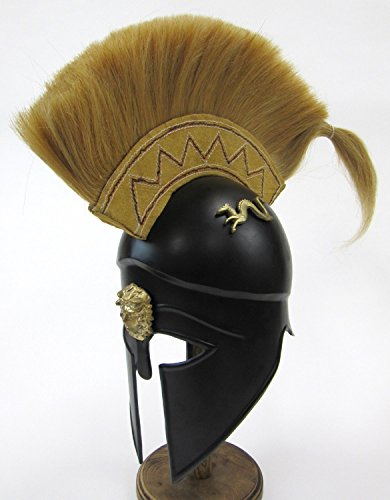 [Blackened Corinthian Helmet W/ Plume - Steel - Armor Wearable Costume] (Authentic Stormtrooper Costume For Sale)
