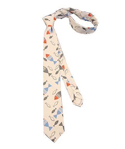 Lovely Item Boy's Skinny Cotton Casual Cartoon Fish Printed Neck Tie ()