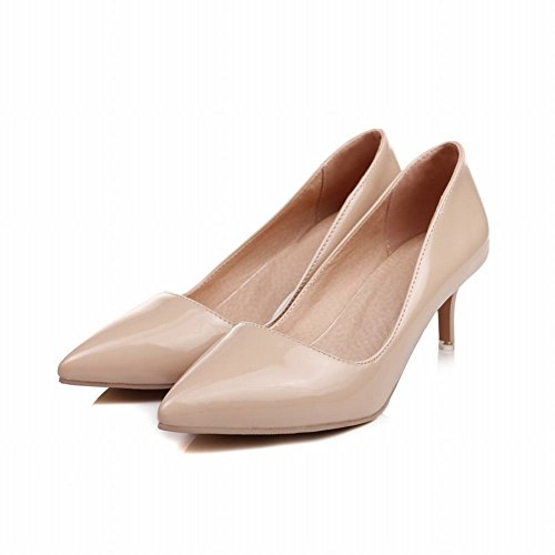 Carolbar Femmes Sexy Bout Pointu Candy Couleurs Stiletto Talon Pompes Chaussures (4.5, Nude)