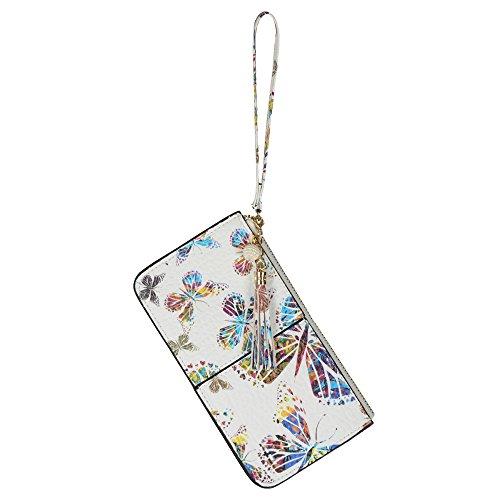 Lovena Soft Leather Wristlet Smartphone Zipper Wallet Tassel Wristlet - Fit iPhone X/iPhone 8/7Plus Samsung Note 8/5- Spring Butterfly (Super Wristlet Smart)