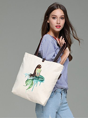 So'each Women's Mermaid Art Pattern Graphic Canvas Handbag Tote Shoulder Bag