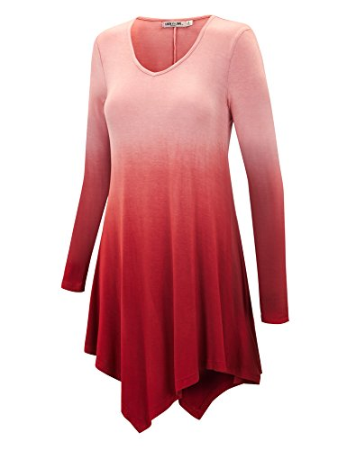 WT1050 Womens V Neck Long Sleeve Dip Dye Handkerchief Hem Tunic Top XXL Wine