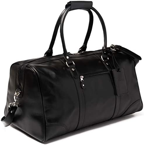 HIDES 19 Full Grain Leather Duffel Bag Overnight Weekender Travel Duffle Carry on Luggage Black