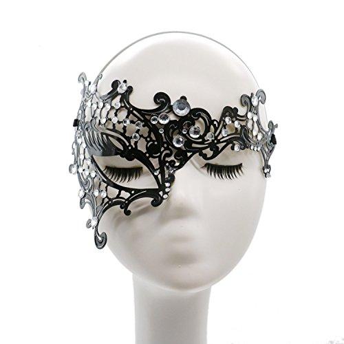 HUELE Womens Masquerade Mask Metal Rhinestone Eye Mask Mardi Gras for Masquerade Party Prom Ball Halloween -