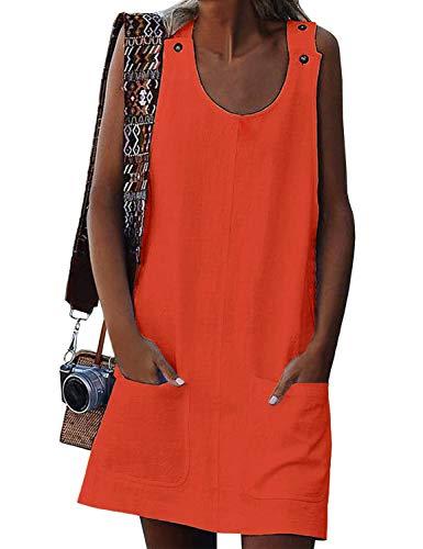 GRAPENT Women's Orange Casual Summer Sleeveless Pockets Buttons Shift Mini Dress Size XL US 16-18