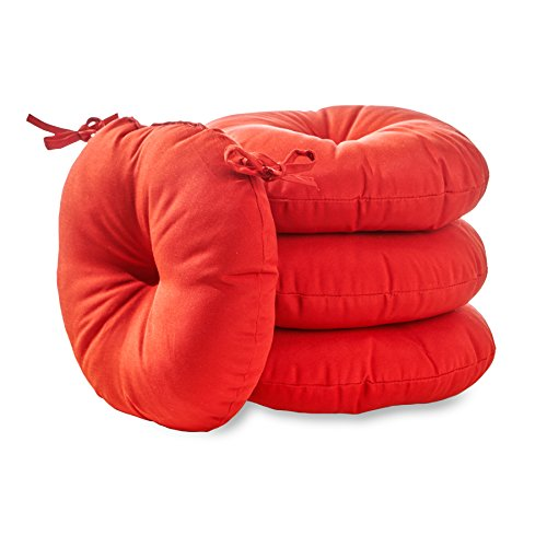 Greendale Home Fashions 15 in. Round Outdoor Bistro Chair Cushion (set of 4), Salsa