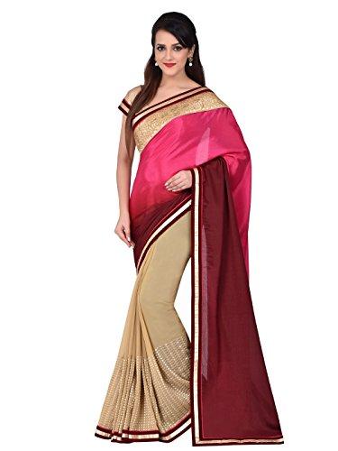 Shonaya Women`S Party Wear Georgette Printed Saree Sari (Beige)