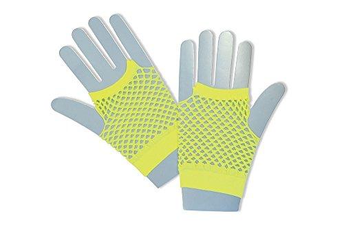 Bristol Novelty BA573 Fishnet Gloves Short Neon Yellow, One Size ()