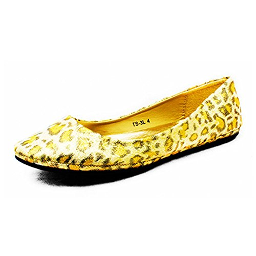 Damen Plain Flache Schuhe / Pumpen Leopard