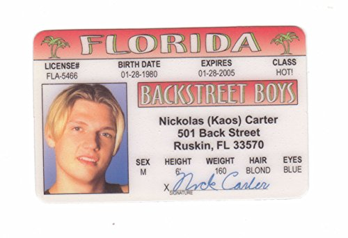 Games Carter co I uk By Amazon Drivers Boys Backstreet Novelty Toys Signs4fun License Fake d Identification Fans For amp; Nick