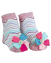 Stephan Baby Girl Pink Multi-Color Chevron Striped Birthday Socks, 6-12 Months