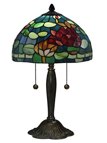 Dale Tiffany TT17073 Jocelyn Rose Table Lamp, Green/Red