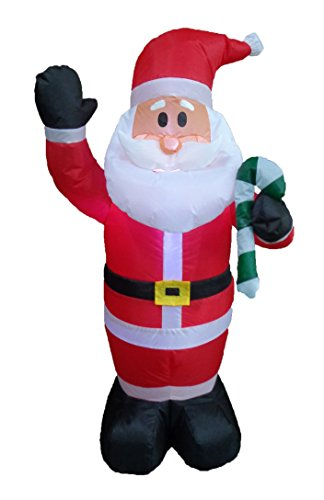 4 Foot Tall Lighted Christmas Inflatable Santa Claus with Candy Cane Yard Art Decoration