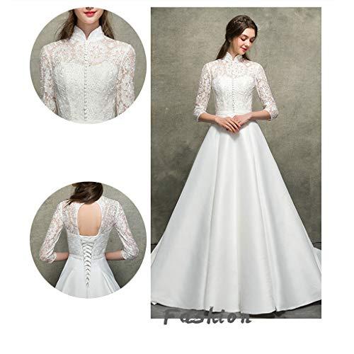 color White L Para Noche Mujer Boda Satén Fiesta Encaje De Tamaño White Vestido 8FwqC6O6