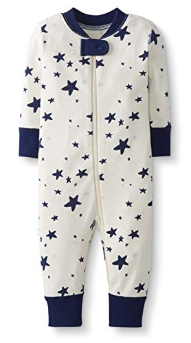 Moon and Back by Hanna Andersson Baby/Toddler One-Piece Organic Cotton Footless Pajamas, Navy Star, 3-6 months