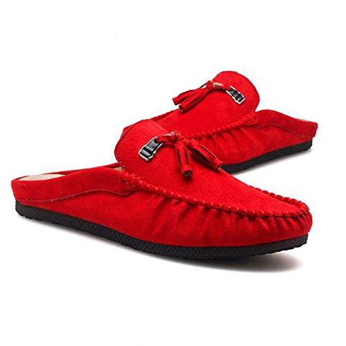 da Home in Rosso Casual Tacchi Sandali Uomo Pelle Mocassino Interno Scarpe Pantofole Senza da xqCPIwOE1