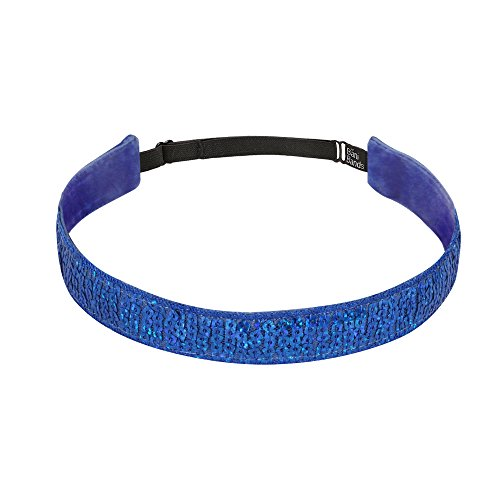BaniBands Girls Workout Sports Headbands | Sequin for Dance Jazz Cheer Volleyball Tennis Gymnastics | Colors to Match Costumes Uniforms Outfits | For Youth Teens Girls Women | Non-Slip | Royal Sparkle