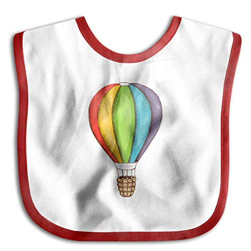 (V5DGFJH.B Baby Feeding Snap - Rainbow Hot Air Balloon Baby Bibs Toddler Saliva Towel Cute Feeding Snap Red)