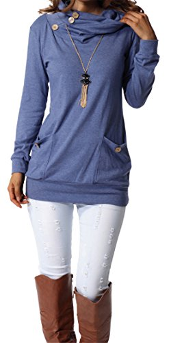 : levaca Womens Long Sleeve Button Cowl Neck Casual Slim Tunic Tops With Pockets