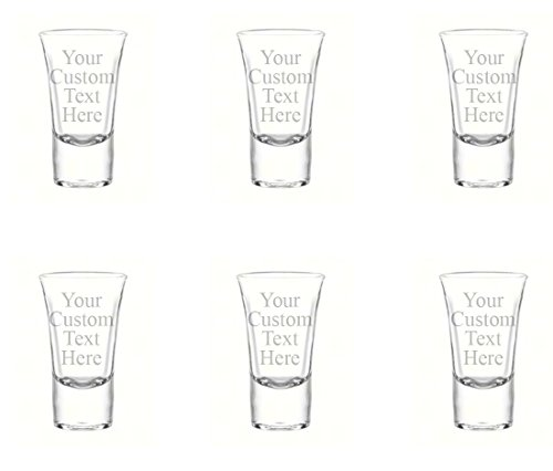 (Personalized Set of 6 Custom Shot Glass Glasses (1.75oz) Free Engraving Groomsman and Bridesmaid Wedding Favor Gift (Single Side)