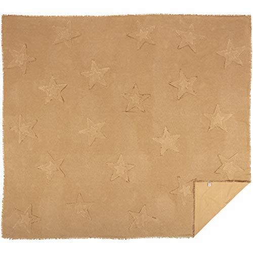 VHC Brands Farmhouse Bedding Vintage Appliqued Cotton Burlap Star King Coverlet Natural Tan