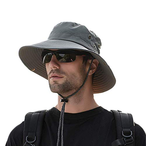 zenicham Sun Protection Hat for Men Wide Brim Bucket Hat Waterproof Breathable Packable Boonie Hat for Fishing Beach Golf Safari UV Protecion - Golf Safari Hat