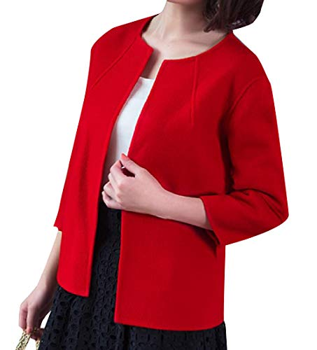 (Comaba Women Chunky Wool Blended Cardigan Trench Coat Pockets Red 2XL)