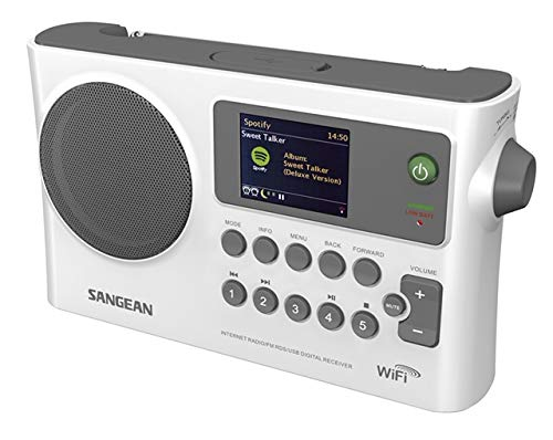Sangean WFR-28 Internet Radio/FM-RBDS/USB/Network Music Player Digital Receiver with Color Display Gray/White