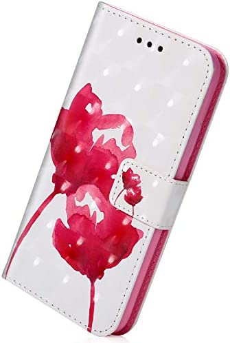 Herbests Kompatibel mit Huawei Mate 20 Leder Handyhülle Ledertasche, 3D Bunt Glitzer GlänzendeLeder Hülle mit Kartenfach Standfunktion Handy Schutzhülle Klapphülle,Pink Rose Blumen